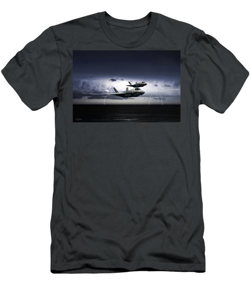 Men's T-Shirt (Slim Fit) featuring the digital art Chain Lightning by Peter Chilelli