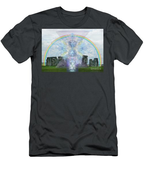 Chalice Over Stonehenge In Flower Of Life Men's T-Shirt (Slim Fit) by Christopher Pringer