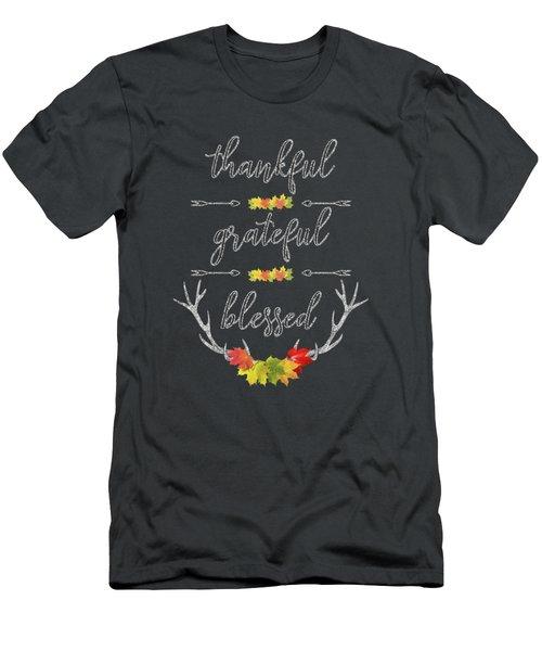 Men's T-Shirt (Athletic Fit) featuring the digital art Chalkboard Handwriting Thankful Grateful Blessed Fall Thanksgiving by Georgeta Blanaru