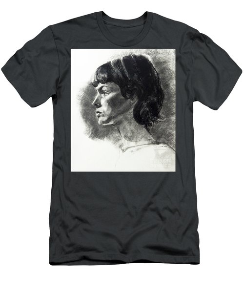 Charcoal Portrait Of A Pensive Young Woman In Profile Men's T-Shirt (Athletic Fit)
