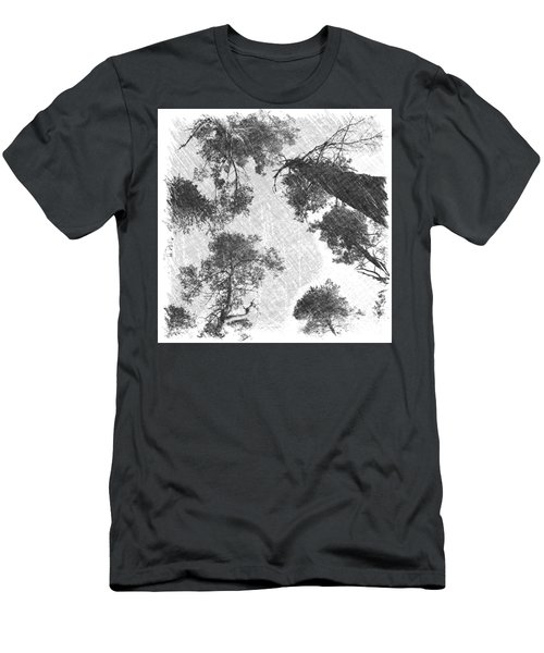 Charcoal Trees Men's T-Shirt (Slim Fit) by RKAB Works
