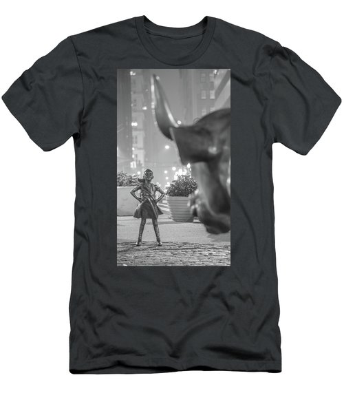 Charging Bull And Fearless Girl Nyc  Men's T-Shirt (Athletic Fit)