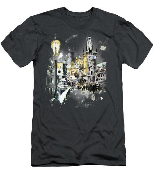 Charles Bridge In Winter Men's T-Shirt (Slim Fit) by Melanie D