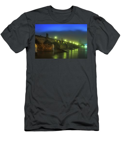 Charles Bridge Night In Prague, Czech Republic Men's T-Shirt (Athletic Fit)