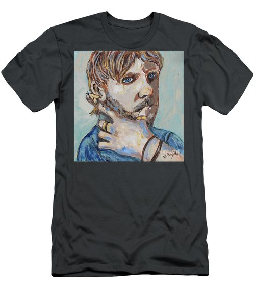 Men's T-Shirt (Slim Fit) featuring the painting Charlie And The Moth by Jeanne Forsythe