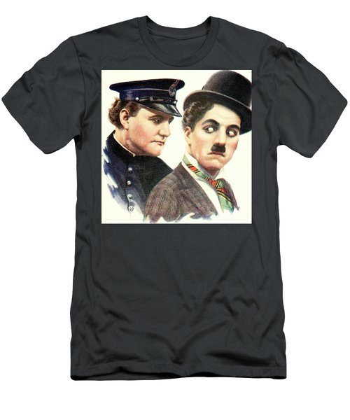 Charlie Chaplan And The Keystone Cop Men's T-Shirt (Athletic Fit)