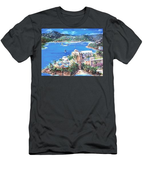 Charlotte Amalie Marriott Frenchmans Beach Resort St. Thomas Us Virgin Island Aerial Men's T-Shirt (Slim Fit) by Bernadette Krupa