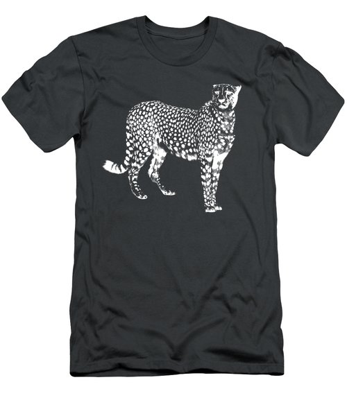 Cheetah Cut Out White Men's T-Shirt (Athletic Fit)