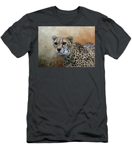 Cheetah Portrait Men's T-Shirt (Slim Fit) by Eva Lechner