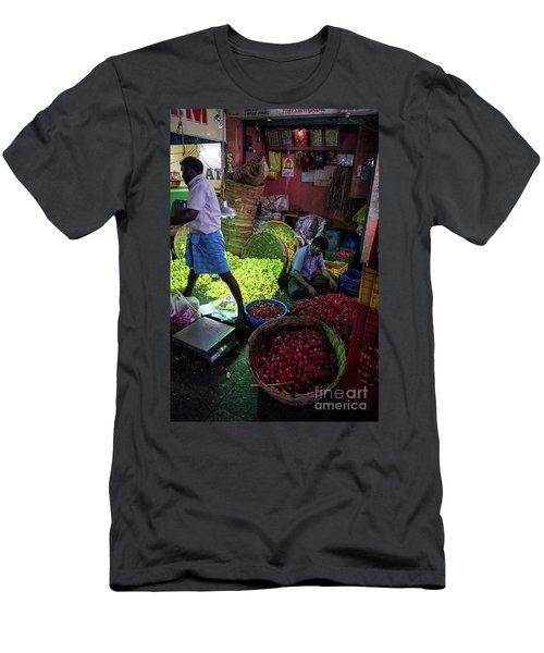 Men's T-Shirt (Slim Fit) featuring the photograph Chennai Flower Market Busy Morning by Mike Reid