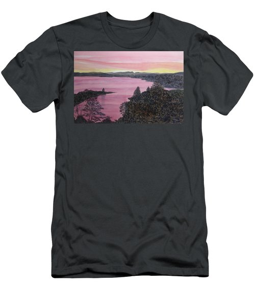 Men's T-Shirt (Athletic Fit) featuring the painting Cherokee Lake Sunset by Joel Deutsch