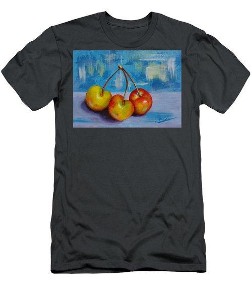 Cherries Trio Men's T-Shirt (Slim Fit) by Janet Garcia
