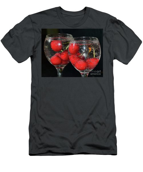 Men's T-Shirt (Slim Fit) featuring the photograph Cherry In Glass by Elvira Ladocki