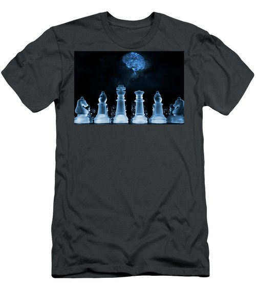 Chess Game And Human Brain Men's T-Shirt (Slim Fit) by Christian Lagereek