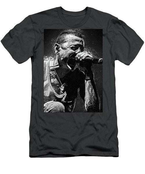 Men's T-Shirt (Athletic Fit) featuring the photograph Chester Bennington by Taylan Apukovska