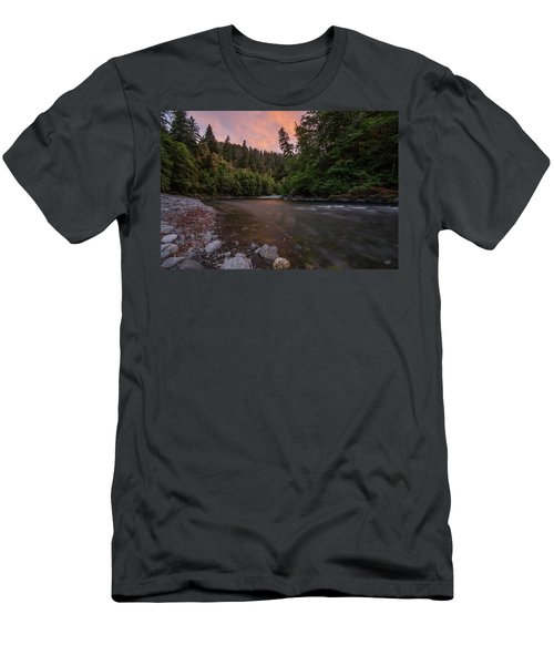 Men's T-Shirt (Slim Fit) featuring the photograph Chetco River Sunset by Leland D Howard