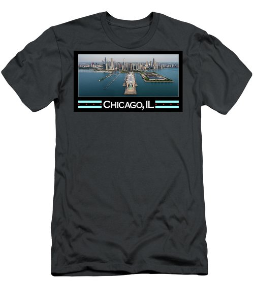 Chicago Aerial Poster Men's T-Shirt (Athletic Fit)