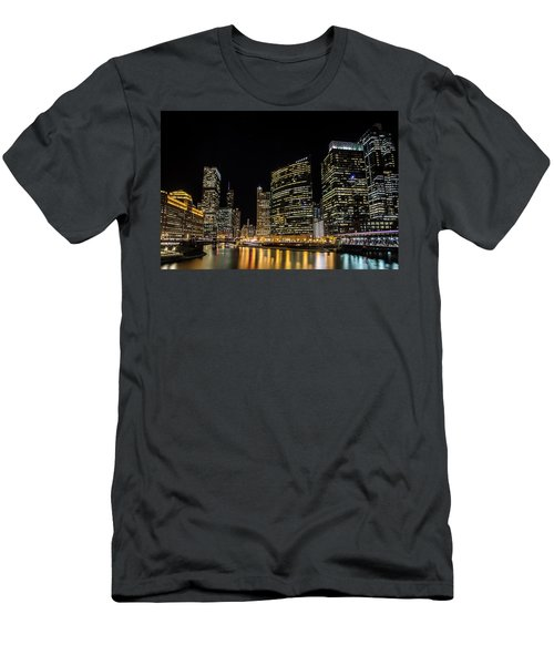 Chicago Night Skyline From Wolf Point Men's T-Shirt (Athletic Fit)