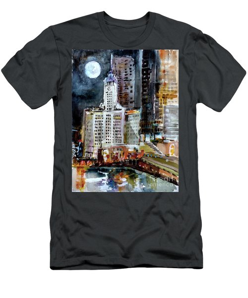 Chicago Night Wrigley Building Art Men's T-Shirt (Athletic Fit)