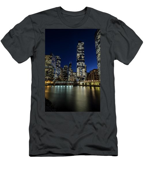 Chicago River And Skyline At Dusk  Men's T-Shirt (Athletic Fit)