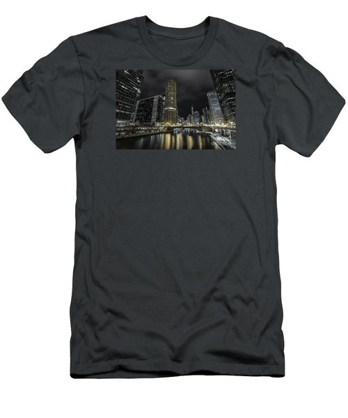 Chicago Riverfront Skyline At Night Men's T-Shirt (Athletic Fit)