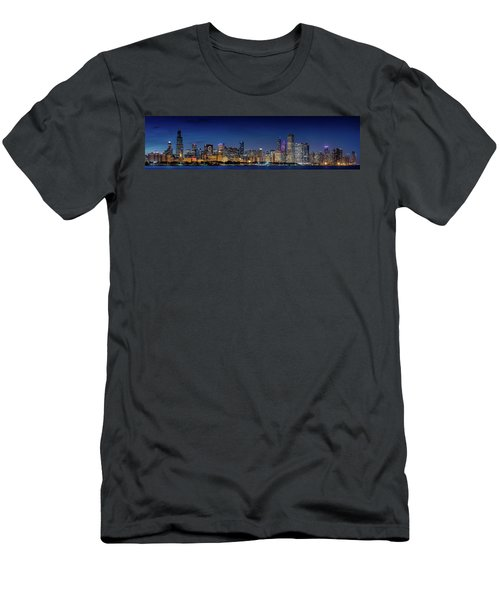 Men's T-Shirt (Slim Fit) featuring the photograph Chicago Skyline After Sunset by Emmanuel Panagiotakis