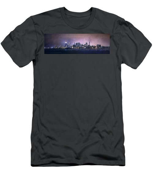 Chicago Skyline From Evanston Men's T-Shirt (Slim Fit) by Scott Norris