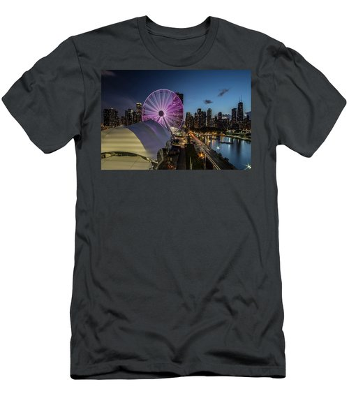 Chicago Skyline With New Ferris Wheel At Dusk Men's T-Shirt (Athletic Fit)