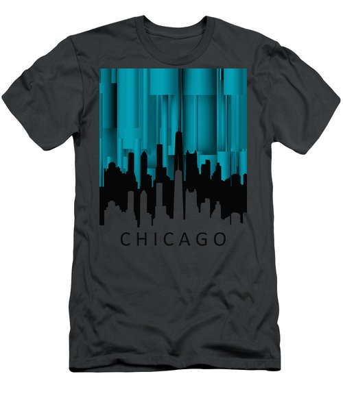 Chicago Turqoise Vertical Men's T-Shirt (Slim Fit) by Alberto RuiZ