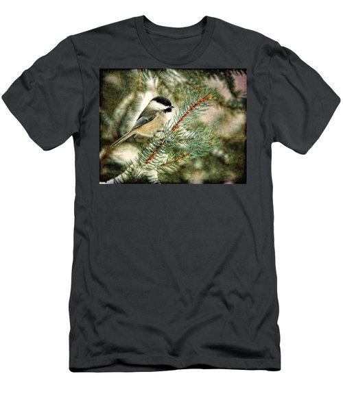 Chickadee On A Snowy Tree Men's T-Shirt (Athletic Fit)