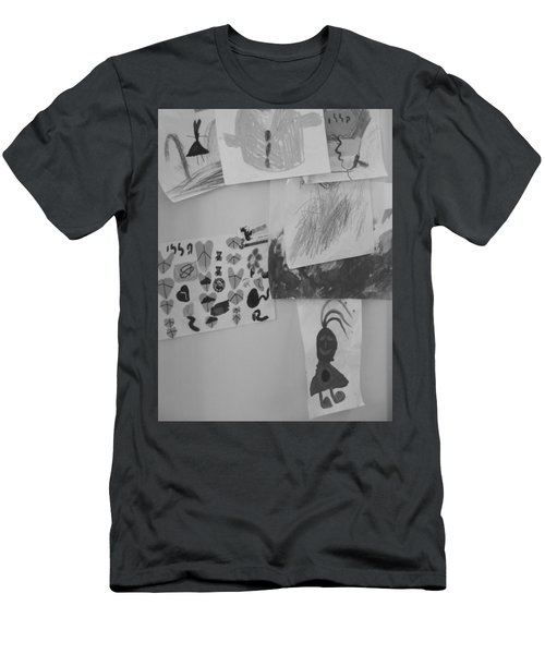 Men's T-Shirt (Athletic Fit) featuring the photograph Childhood Dreams On My Refrigerator by Esther Newman-Cohen