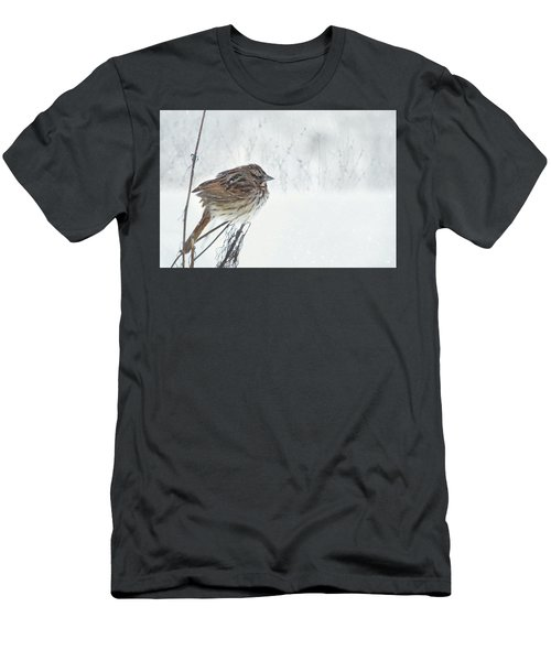 Men's T-Shirt (Slim Fit) featuring the mixed media Chilly Song Sparrow by Lori Deiter