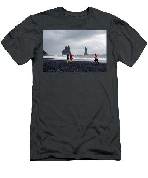 Men's T-Shirt (Athletic Fit) featuring the photograph China's Tourists In Reynisfjara Black Sand Beach, Iceland by Dubi Roman