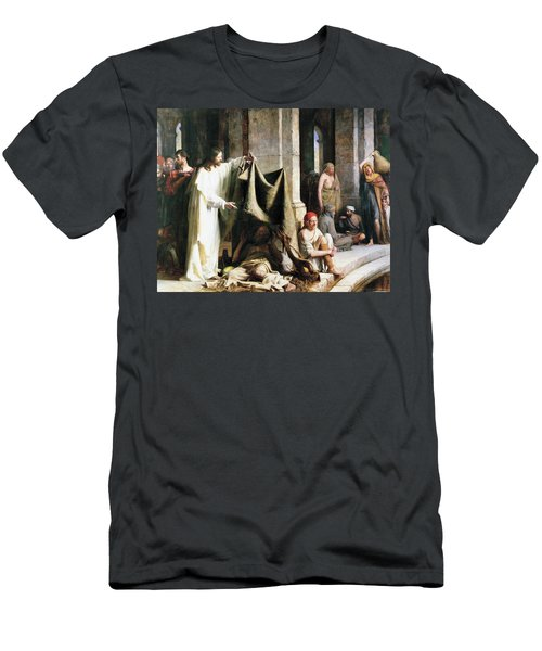 Christ Christ And The Man At The Healing Wel Men's T-Shirt (Slim Fit) by Carl Heinrich Bloch
