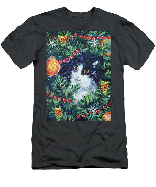 Christmas Catouflage Men's T-Shirt (Slim Fit) by Li Newton