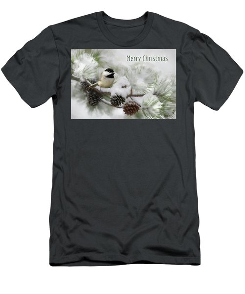 Men's T-Shirt (Slim Fit) featuring the photograph Christmas Chickadee by Lori Deiter
