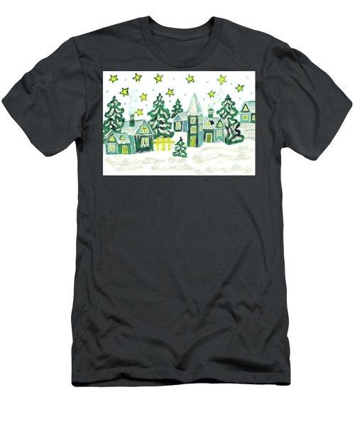 Christmas Picture In Green Men's T-Shirt (Slim Fit) by Irina Afonskaya