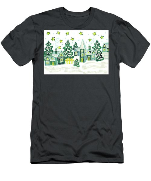 Christmas Picture In Green Men's T-Shirt (Athletic Fit)