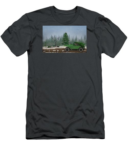 Christmas Tree Hunters Men's T-Shirt (Slim Fit) by Ken Morris