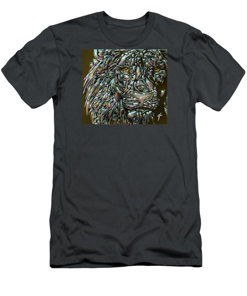 Men's T-Shirt (Athletic Fit) featuring the digital art Chrome Lion by Darren Cannell