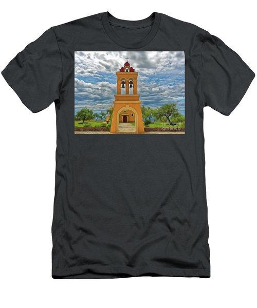 Men's T-Shirt (Athletic Fit) featuring the photograph Church Agios Georgios Corfu by Leigh Kemp