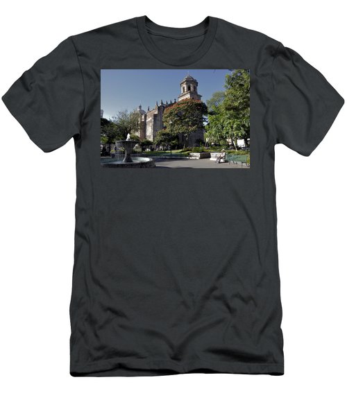 Men's T-Shirt (Slim Fit) featuring the photograph Church And Fountain Guadalajara by Jim Walls PhotoArtist