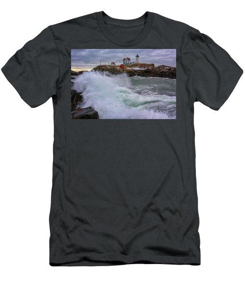 Men's T-Shirt (Slim Fit) featuring the photograph Churning Seas At Cape Neddick by Rick Berk