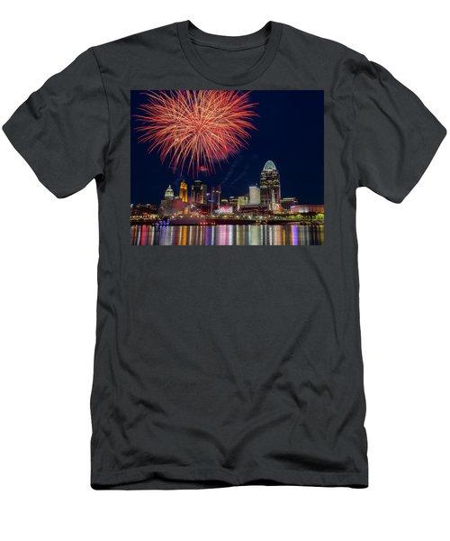 Cincinnati Fireworks Men's T-Shirt (Slim Fit) by Scott Meyer