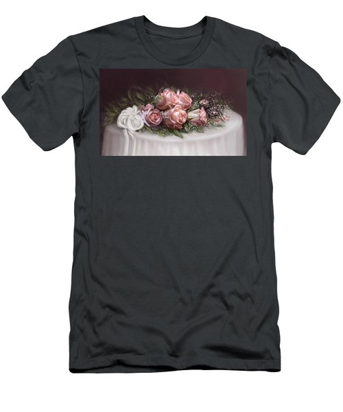 Men's T-Shirt (Slim Fit) featuring the painting Spray Of  Roses by Bonnie Willis
