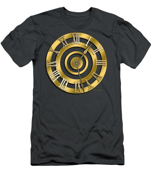 Men's T-Shirt (Slim Fit) featuring the digital art Circular Clock Design by Chuck Staley