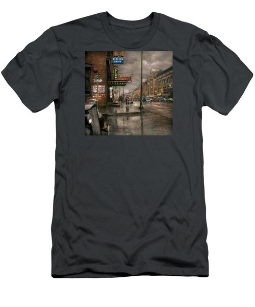 City - Amsterdam Ny -  Call 666 For Taxi 1941 Men's T-Shirt (Slim Fit) by Mike Savad