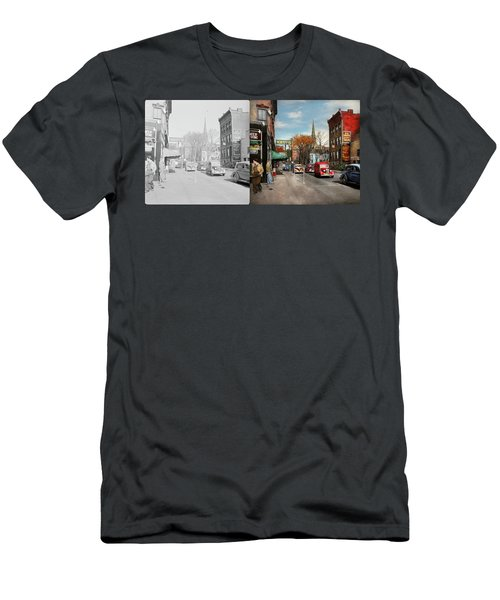City - Amsterdam Ny - Downtown Amsterdam 1941- Side By Side Men's T-Shirt (Slim Fit) by Mike Savad