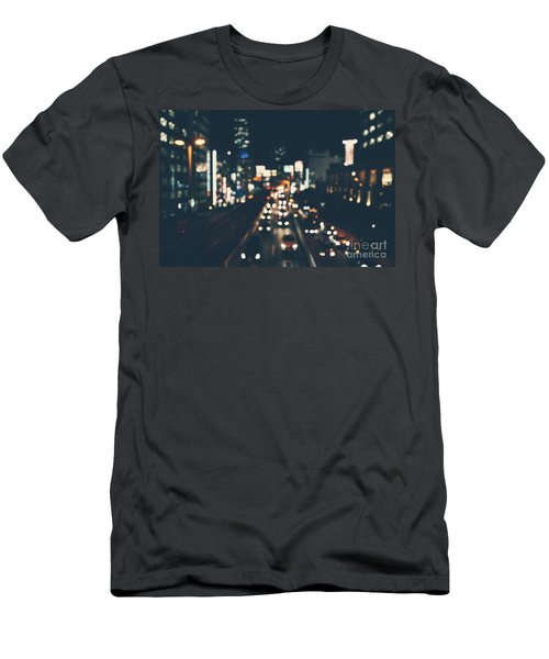 Men's T-Shirt (Slim Fit) featuring the photograph City Lights by MGL Meiklejohn Graphics Licensing