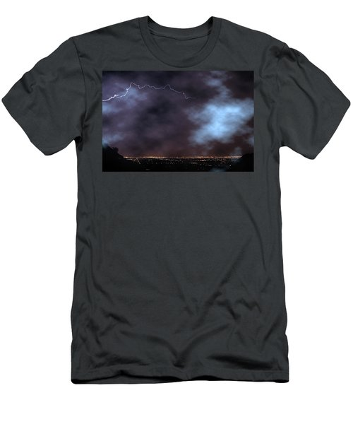 Men's T-Shirt (Slim Fit) featuring the photograph City Lights Night Strike by James BO Insogna